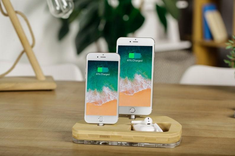 Dual Docking Station Ladestation iPad Holz Halter Airpods aufladen stehen  und iPhone X 8 7 Dock iPhone Organizer Jubiläumsgeschenk