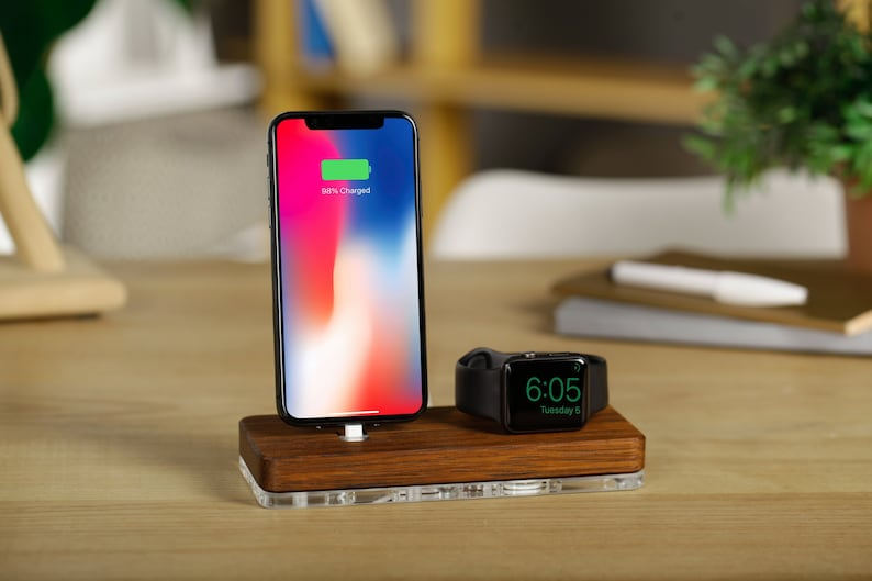 sneakers for cheap 6a816 e2278 iPhone X Docking Station iPhone 8 Dock Apple Watch Charging Station Wooden  Apple Watch Stand iPhone and iWatch Holder Wood dock station