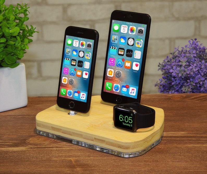Apple Watch aufladen Airpods stehen iPhone Dock-Station iPad Ständer Holz  Ladestation iPhone X 8 Apple Watch Dock Apple TV Geschenk für ihn