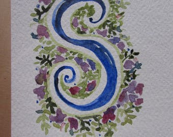 Customizable letter watercolor handmade postcard card