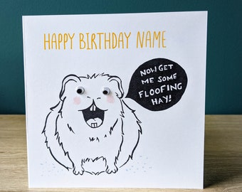 Funny personalised guinea pig birthday card   Greeting card with googly eyes   Happy Birthday Name with custom message   Cavy art
