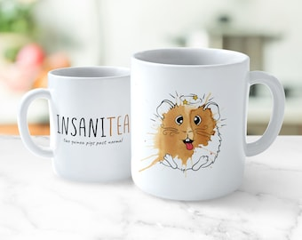 Insani-tea Guinea Pig Mug - two guinea pigs past normal | Happy Birthday Christmas Gift Present | Cavy illustration art