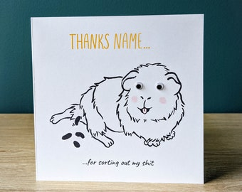 Rude personalised funny guinea pig thank you card | Greeting card with googly eyes | Thanks Name with custom message | Cavy illustration art