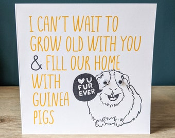 Funny guinea pig valentines anniversary card | Greeting card with googly eyes | I can't wait to grow old with you with custom message | Cavy