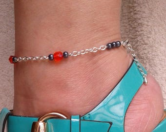 Ankle chain - pearls of Bohemia and Hematite