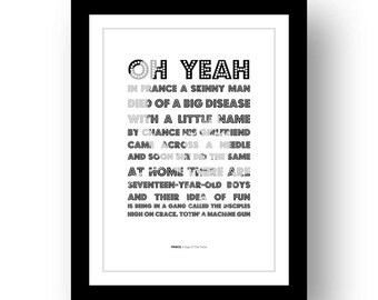 PRINCE - Sign O' The Times - typography poster art print limited edition song lyrics quote