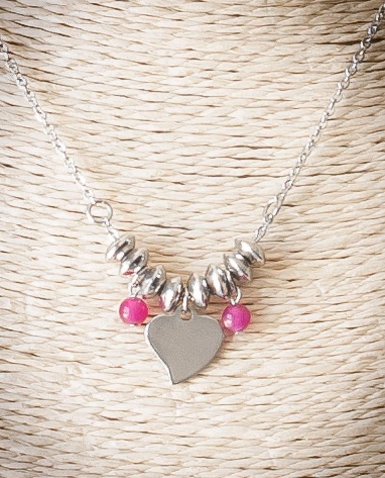 stainless steel Silver child gift earrings chips Kids heart earrings natural stones Fuchsia pink jade