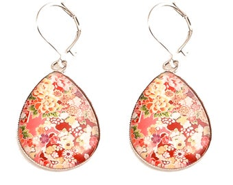 Cabochon drop earrings multicolor * floral Japanese fabric *.