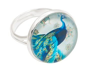 Round cabochon ring * majestic blue Peacock *.