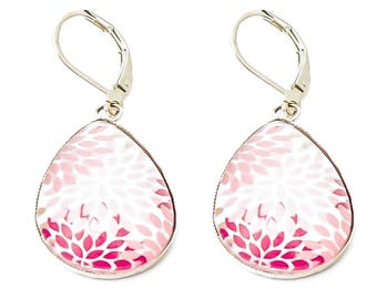 Cabochon drop earrings purple pink sleeper * petal flower * white