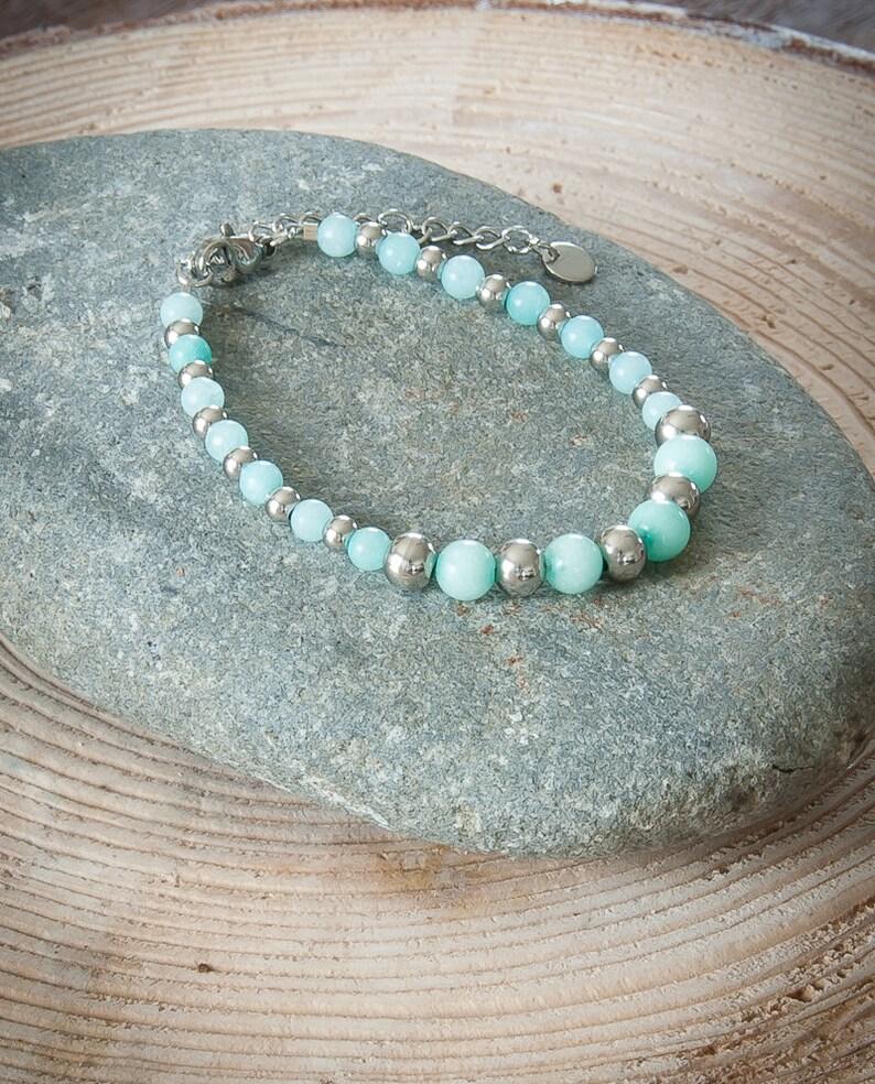 silver stainless steel Amazonite bead Women/'s fine bracelet