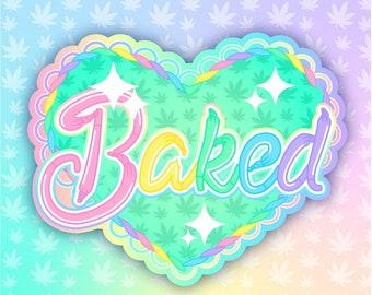 Baked holo sticker