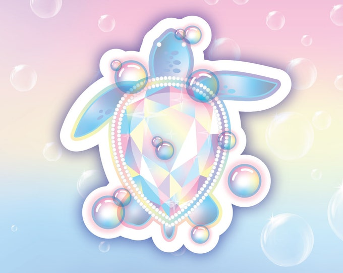 Rainbow sea turtle holo sticker