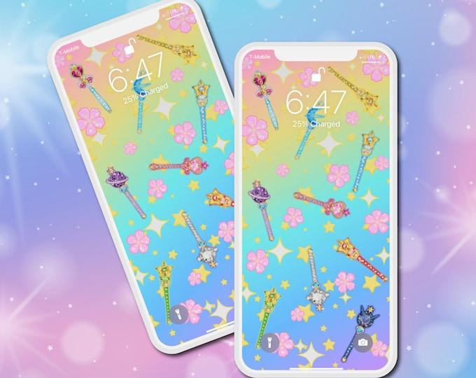 Magical Girl Wands Phone Wallpaper