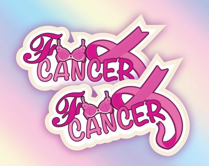 F*ck cancer breast cancer holo sticker