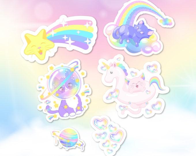 Pastel rainbow kitties sticker pack