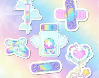 Pastel Rainbow Nurse Sticker Pack