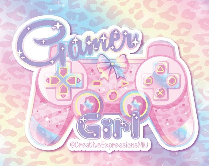 Gamer girl holo star sticker and magnet