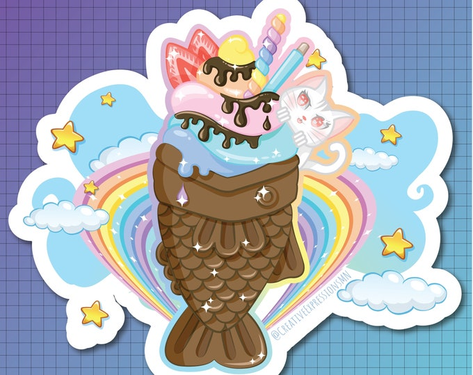 Fish waffle ice cream sticker AND magnet