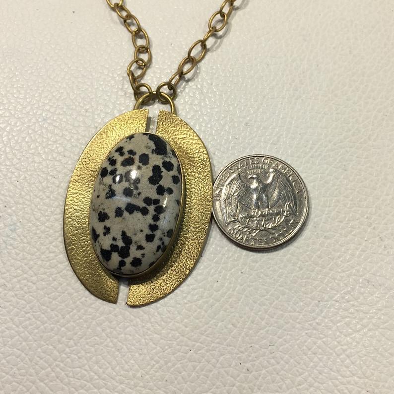 Natural Quality Dalmatian Jasper Gemstone Morden Disc Brass Excellent Quality Brass Plated 22.3 Gram Chine Size 20 inch Good Quality MDB-15