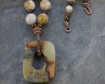 Chinese Antique Jade Bi Pi Donut Amulet Artisan Necklace with Graduated Ocean Jasper Hand Knotted Bead Strand