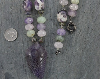Unique Hand Carved Amethyst Pendant Bead Artisan Necklace with Fluorite, Chevron Amethyst and Prehnite Strand