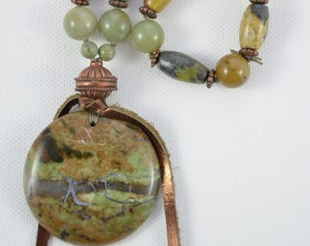 Green Opal Necklace African Green Opal Jasper and Fluorite  26 inch Necklace made with Hand Formed Argentium 935 Silver Chain and Links