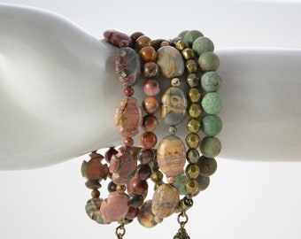 Multi-Coloured Amazonite Pendant Necklace with Hand Knotted African Opal Strand Beach Style OOAK Gemstone Necklace