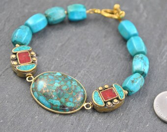 Turquoise in Copper Connector Bead Artisan Bracelet with Handmade Nepalese Beads in Turquoise, Coral and Brass