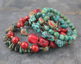 Tribal Style African Turquoise, Coral & Nepalese Beads 5 Stand Memory Wire Cuff