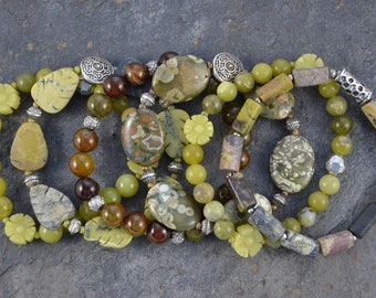 Artisan Stretch Bracelet Six Stack Set of Green African Turquoise, Rhyolite, Lemon Jade and Silver Accents