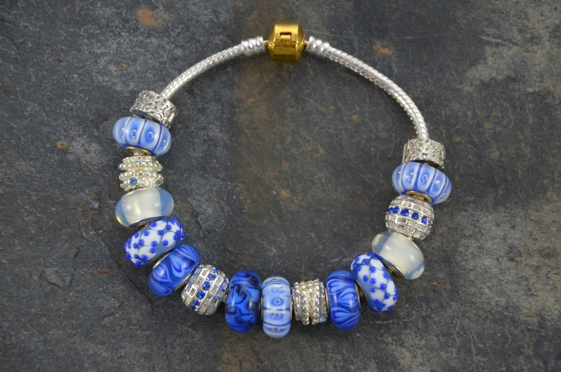 Artisan Bracelet and Earrings Set Handmade with European Lampwork Murano Glass Beads in Blue White and Silver Tones