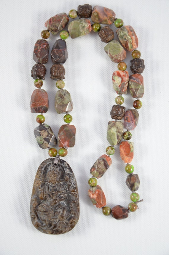 Citrine Hand-made Magnesite and Wood Bead Necklace One-of-a-kind Ourstanding Triple Strand Pyrite