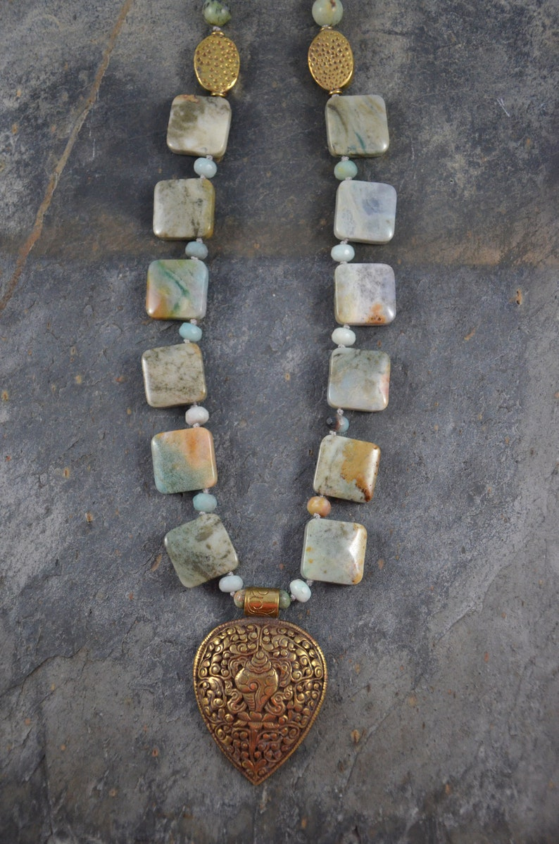 Amazonite Pendant Bead Set and African Turquoise Rounds Artisan Boho Necklace Handmade with Nepalese Brass Repousse Pendant