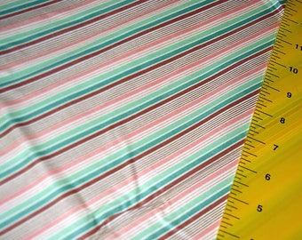 Vintage Striped Shirting. Polished Cotton poly blend , Wamsutter Mills,  Striped Shades of green,peach, rust