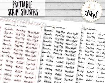 Functional Script Stickers,  PRINTABLE Planner Stickers, Create 365, Erin Condren, Cursive Printable Stickers, TN Foxy Fix, Free Cut File