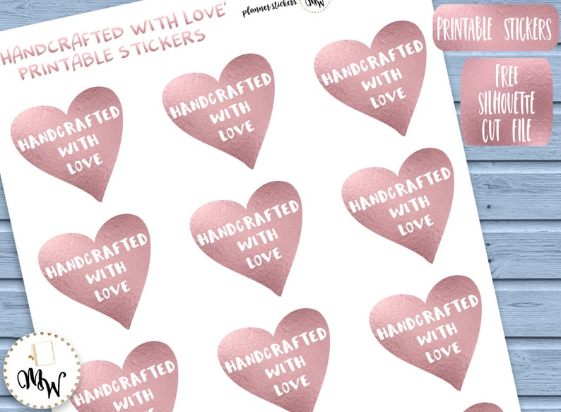 picture regarding Printable Heart Shaped Labels named Handcrafted Material Labels Handcrafted With Take pleasure in Stickers Rose Gold Content PRINTABLE Stickers Centre Fashioned Stickers for Etsy Dealer