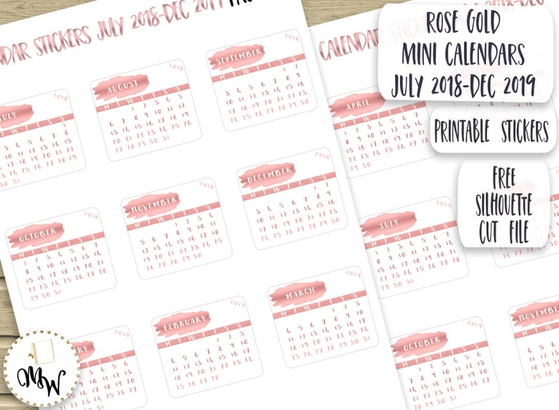graphic relating to Printable Calendar Stickers titled Rose Gold Mini Calendars Calendar Stickers for Planner PRINTABLE Thirty day period Stickers 2018-2019 Calendar Die-Cuts Rose Gold Diary Stickers