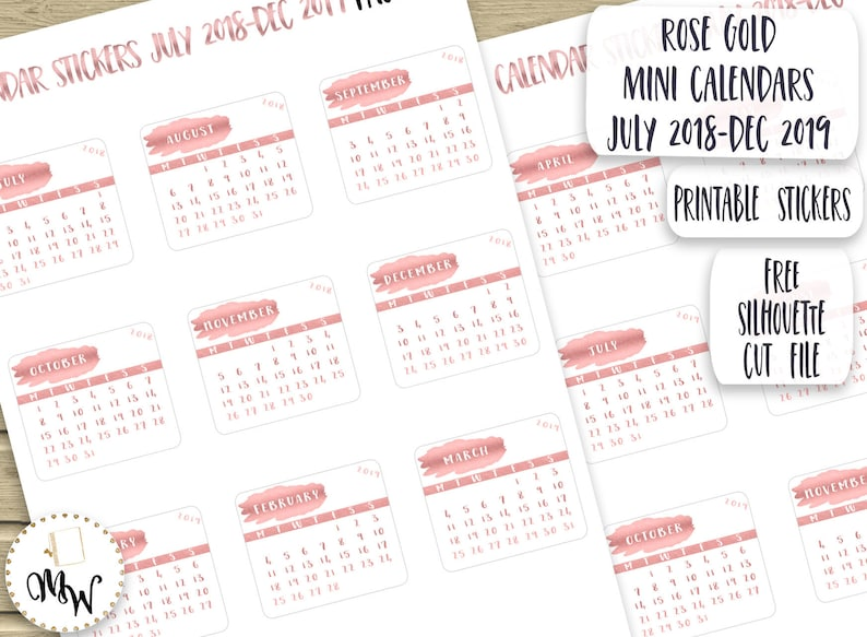 photo relating to Printable Calendar Stickers called Rose Gold Mini Calendars Calendar Stickers for Planner PRINTABLE Thirty day period Stickers 2018-2019 Calendar Die-Cuts Rose Gold Diary Stickers