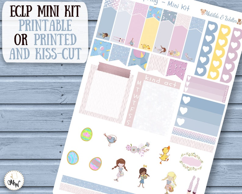 Mini Planner Kit in pastel colours Cute Planner Girls with eggs /& rabbits Easter Mini Sticker Kit to fit Erin Condren or Happy Planner