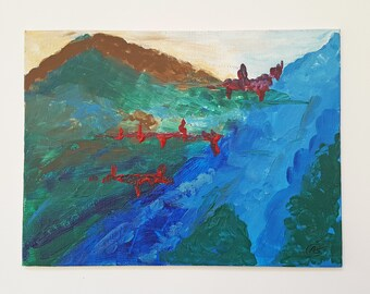 Acrylic Mountains Painting, Abstract Mountains Landscape, Mountains Painting, Acrylic Painting, Original Handmade Work