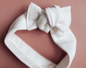 tie on headwrap || white ribbed