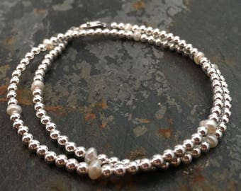 Sterling Silver bead and Pearl Wrap Bracelet