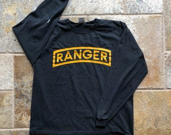 c3f79adbfbb Vintage Ranger Airborne ParaTrooper Long Sleeve Graphic T-Shirt