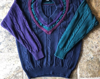 d61d0e968 Vintage Jed Wear Color Block Cable Knot V-Neck Sweater