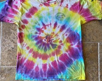 Vintage 90s Western Pennsylvania National Wild Animal Orphanage Rainbow Tie Dye Sz L