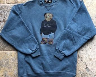 3ec5387bf99 Vintage Hip Hop Polo Bear Bootleg Gucci Crewneck Sweatshirt Rare
