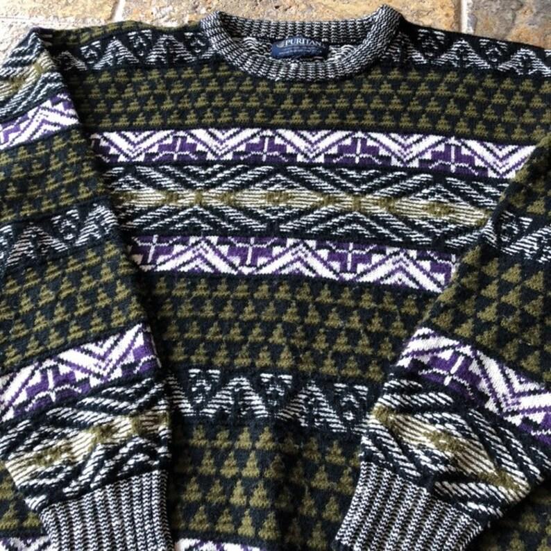 Vintage Puritan Retro Purple Striped Crewneck Cosby Sweater
