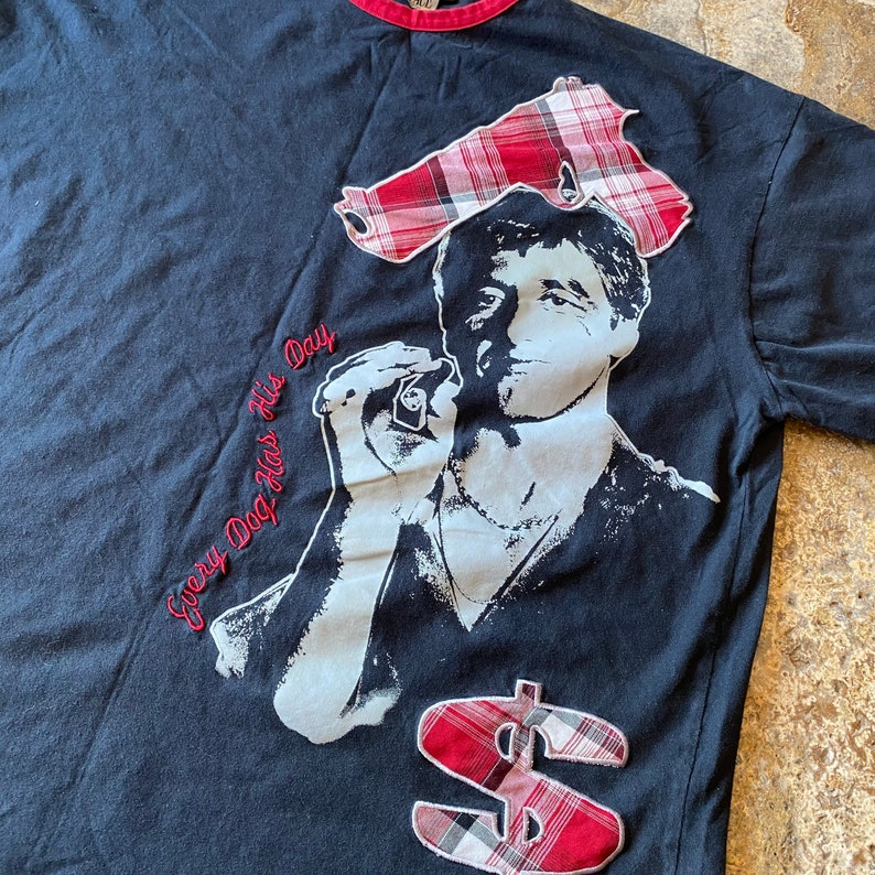 Vintage SCARFACE Every Dog Has His Day Plaid 3X Hip Hop Movie T-Shirt