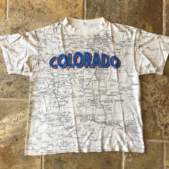 Vintage Colorado Map All Over Print Single Stitch